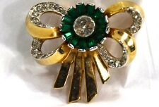 1940's Signed MAZER Green Glass + Rhinestone Bow Brooch Pin Beautiful Marked 15