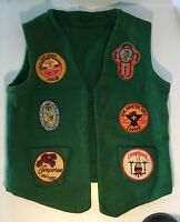 Rare VTG. 1960's Boy Scout Patch Green VEST -w/ Pope John XXiii Retreat Patch