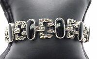 Vintage Oxidized Sterling Silver Black Enamel / Marcasite Tennis Bracelet 6.25''