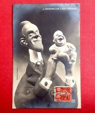 CPA. GIRIS. 1908. Il grandira car il est Espagnol. Maquette. Caricature. Satire.