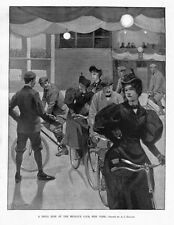 BICYCLE DRILL RIDE AT THE MICHAUX CLUB NEW YORK 1896 ANTIQUE BICYCLING SPORT