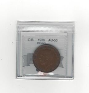 1936 Great Britain, One Penny, Coin Mart Graded **AU-50**