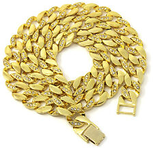 "Mens 14k Gold Plated Iced Out Hip Hop CZ 15mm 30"" Miami Cuban Chain Necklace"