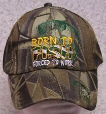 Embroidered Baseball Cap Fishing Born to Fish NEW All Cammie 1 fits all