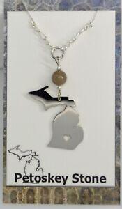 necklace pendant Michigan, State,  Petoskey Stone jewelry