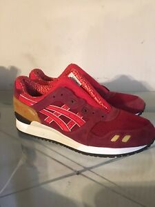 Asics Gel Lyte III Red Athletic Shoes HN514 Size 9