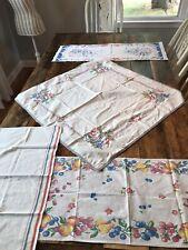 New listing Vintage Linen Lot 1 Tablecloth+ Tea Towels Floral Fruit Embroidered Floral