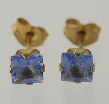 NEW Simulated Tanzanite Stud Earrings - 10k Yellow Gold Women's Square Fashion