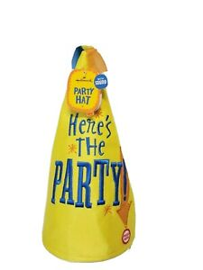 Hallmark Party Hat with Sound Talking yellow blue Adult NWT
