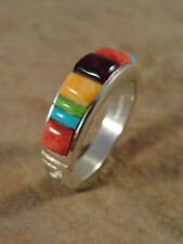 Beautiful Navajo Sterling Silver & Turquoise Coral & Spiny Navajo Ring sz 10 1/2
