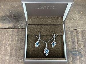 Jared Women Blue Topaz & Diamond Necklace Pendant & Earrings Set Sterling Silver