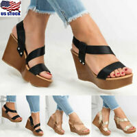 Womens Platform Mid Heel Sandals Summer Ankle Strap Wedges Espadrille Shoes Size