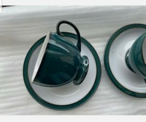 denby greenwich green 2x cups tea/coffee with saucers