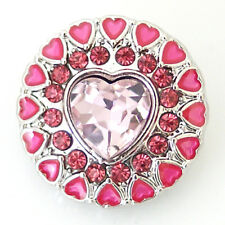 Snap Button Jewelry-Interchangeable-P:ink Rhinestone Hearts 20mm