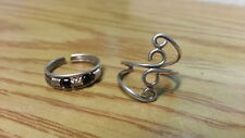 Beautiful Two New Black Wire Swirl Toe Rings Ring 925 SterlingSliver*SizeAd*F23 9