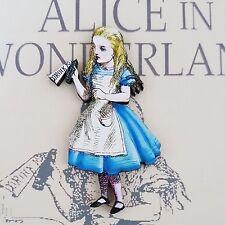 Alicia en el país de las Maravillas Original Ilustración bebida me Recortar Broche De Madera 65mm