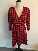 River Island Red Houndstooth Dress Size 8 BNWT Stunning Rrp £38