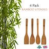 4 x BAMBOO UTENSILS Wooden Spatula Spoon Kitchen Cooking Utensils Tools Set