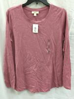 Style & Co Crewneck Long Sleeve Top Pink S