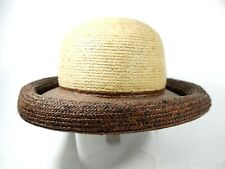 Donewell Made In Australia Natural & Brown Round Straw Sun Hat