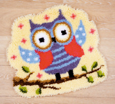 """Vervaco FUNNY OWLET ON A BRANCH Shaped Latch Hook Rug Kit 22"""" x 20"""""""