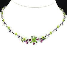 Sterling Silver 925 Amethyst Chrome Diopside Garnet Pink Topaz Necklace 18-20 In