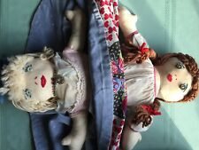 """VINTAGE TOPSY TURVY DOLL LARGE 24"""" HANDMADE 1959 WITH """" BIRTH"""" NOTE - UNIQUE!!"""
