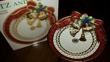 Christmas Fitz & Floyd serving Plate * Florentine Holiday *  Decor * Gold Bells