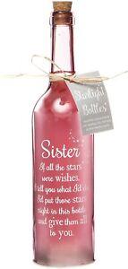 Boxer Gifts Light Up LED Sister Glass Starlight Bottle Gift Present