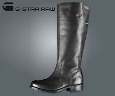 LADIES G-STAR RAW PATTON RIDER BLACK LEATHER BOOTS - UK SIZE 4 - BRAND NEW.