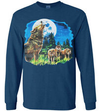 Wolf Shirts Mens Graphic Tees Wolves Wolf Pack Gifts Clothing Long Sleeve Tee