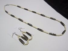 Dyed Brown and White Bone Beaded Necklace and Earring Set