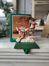 VTG Midwest Santa's Reindeer Cast Iron Christmas Stocking Hanger Holder w/ Box