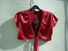 Tie Front Top Size 6/8 Deep Red Satin Lycra - Suit Teen - 20's