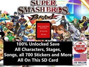 Super Smash Bros. Brawl Nintendo Wii SD Memory Card 100% UNLOCKED (ALL FIELDS++)