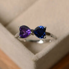 2 Ct Heart Cut 14K White Gold Couples Birthstone Dual Heart Wedding Ring