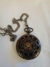 Skeleton Steampunk Pocket Watch with Roman Numerals