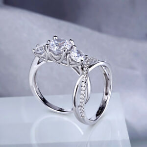 4.35Ct White Round Cut Diamond Elegant Wedding Bridal Ring Set In 14K White Gold