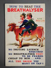 R&L Postcard: Bamforth Comic 2516 Breathalyser Cow Bull Drunk Men Pub Journey
