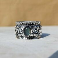 Labradorite Ring Solid 925 Sterling Silver Spinner Ring Meditation Jewelry A256