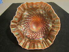 "Old Dugan ""Folding Fan"" Tightly Crimped Ruffled Edge PO Carnival Glass Compote"