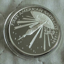 ALFA 1 1st Satellite USA $50 1989 1oz .999 ARGENTO PROOF-Isole Marshall