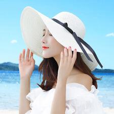 Hot Summer Floppy Straw Hat Women Ladies Wide Brim Beach Hat Sun Foldable Cap
