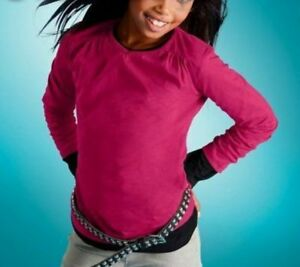 Tolles Mädchen Girls Langarm Shirt Raff Ausschnitt Top 104/110 116/122 NEU Pink