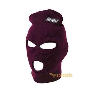 Burgundy Ski Mask Beanie 3 Hole Knitted Cap Hat Warm Face Winter Snow Unisex New