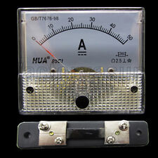 DC 50A Analog Panel AMP Current Meter Ammeter Gauge 85C1 0-50A DC White + Shunt
