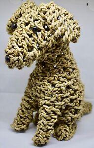 Handmade Rope Dog Puppy Statue Ornament Doorstop Handcrafted Gift