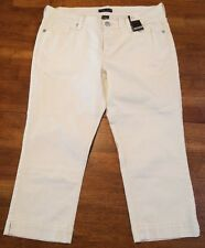 NWT New York & Company Women's White Flap Pocket Capris Jeans size 10