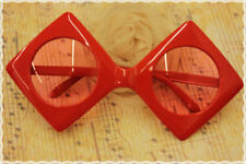 Occhiali montatura a rombo con lente rotonda trasparente colore rosso