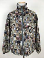 Vintage 90s Raw Silk Full-Zip Bomber Jacket Women's Small Geometric Nylon Lined